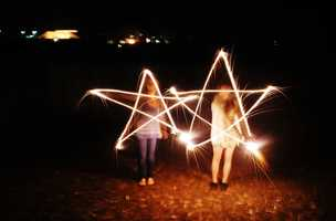 Kids in Prunedale created synchronized stars with sparklers on July 4.