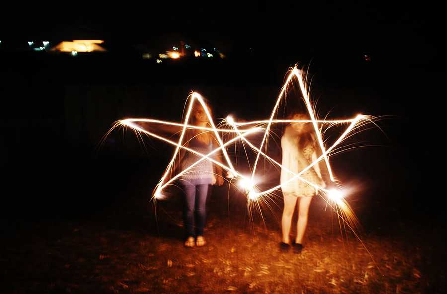 Kids in Prunedale created synchronized stars with sparklerson July 4.