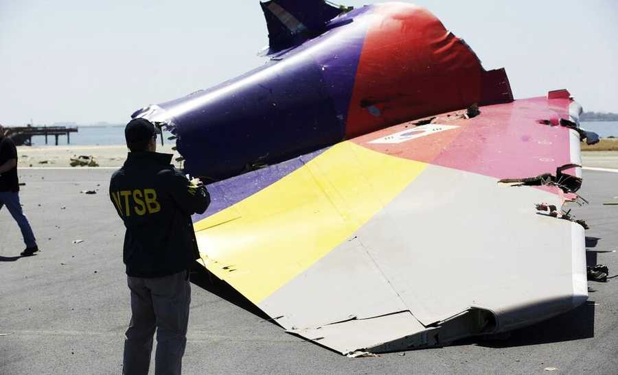 Tail section of the Asiana Airlines Boeing 777 flight 214
