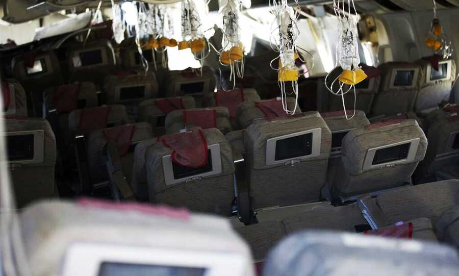 A cabin photo of the Asiana Airlines Boeing 777 flight 214 shows what the plane looked like inside after the crash.