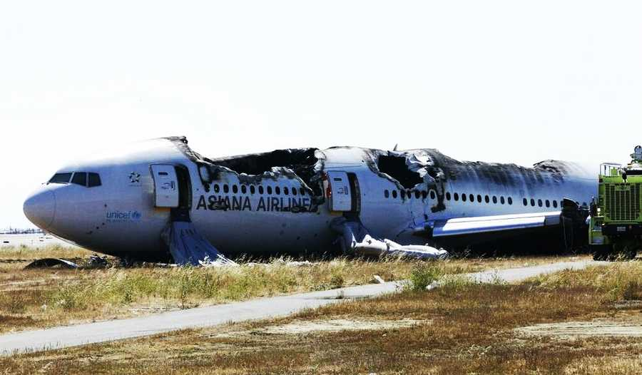 Exterior photograph of the Asiana Airlines Boeing 777 flight 214 crash from the NTSB.