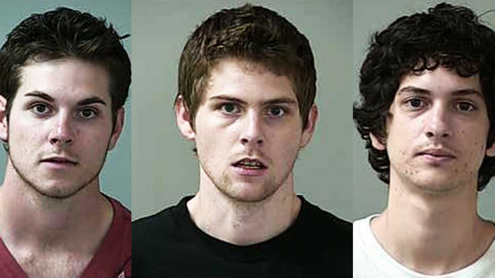Jason Methot, left, Nicolas Cooper, center, and Anthony Rangel were arrested on Highway 101 near Highway 85.