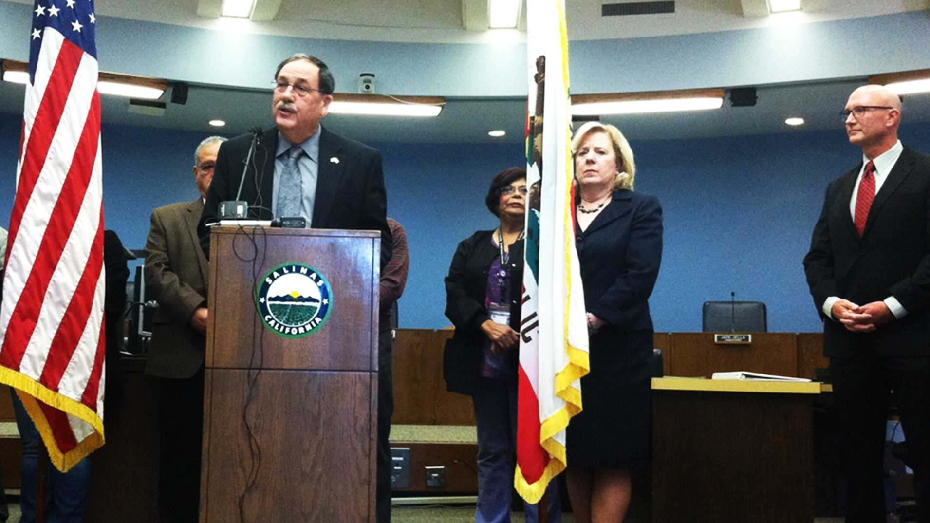 Salinas Mayor Joe Gunter, left, Monterey County Superintendent of Schools Nancy Kotowski, center, and Police Chief Kelly McMillin right, spoke out about a recent violent crime spike.