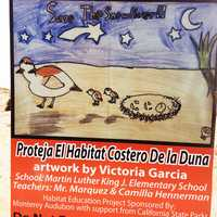 Victoria Garcia of Martin Luther King Elementary School did this artwork of plovers and their nest.