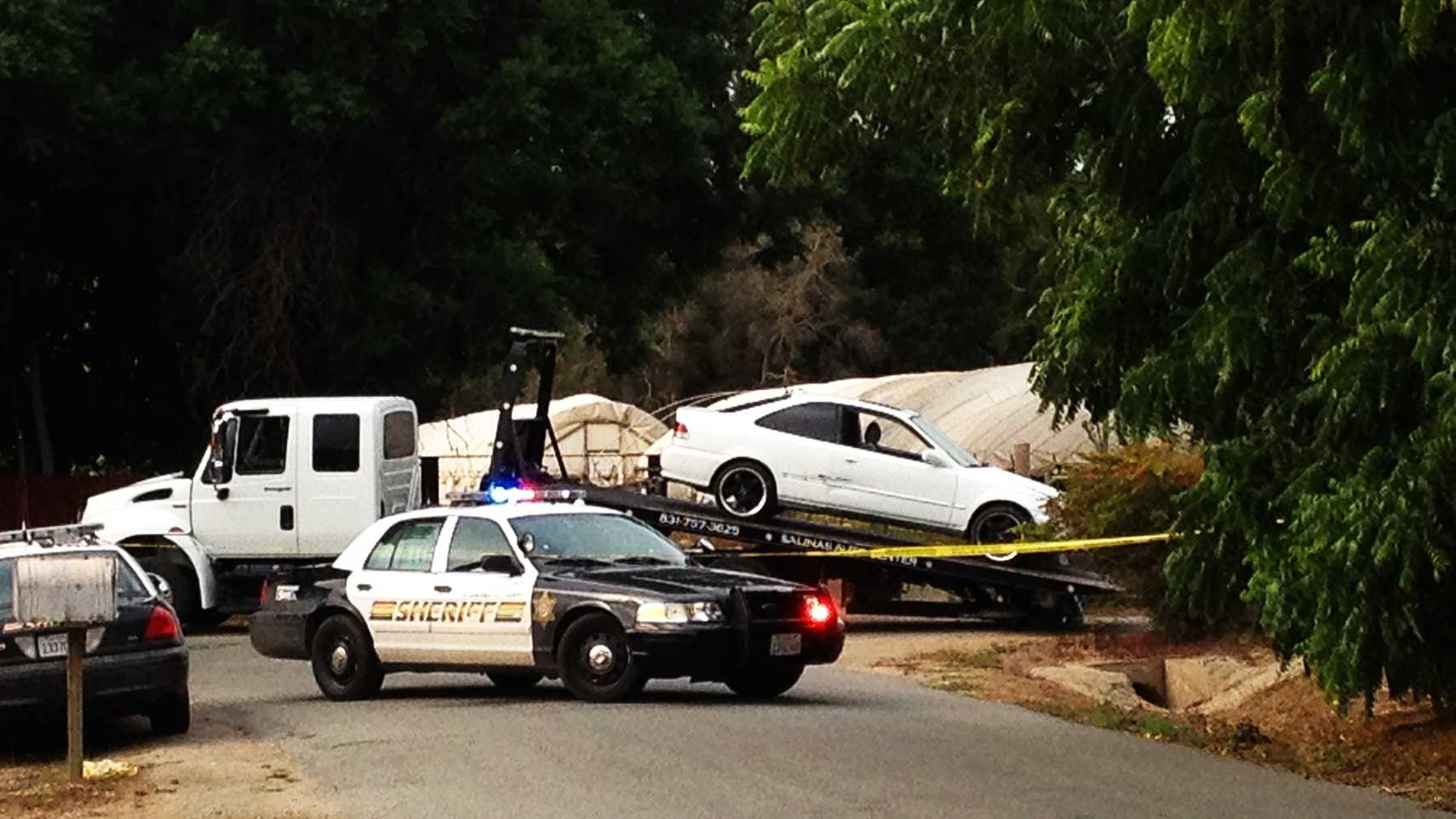A Monterey County Sheriff's deputy shot and killed a man who was driving this stolen car near Prunedale. (Aug. 9, 2013)