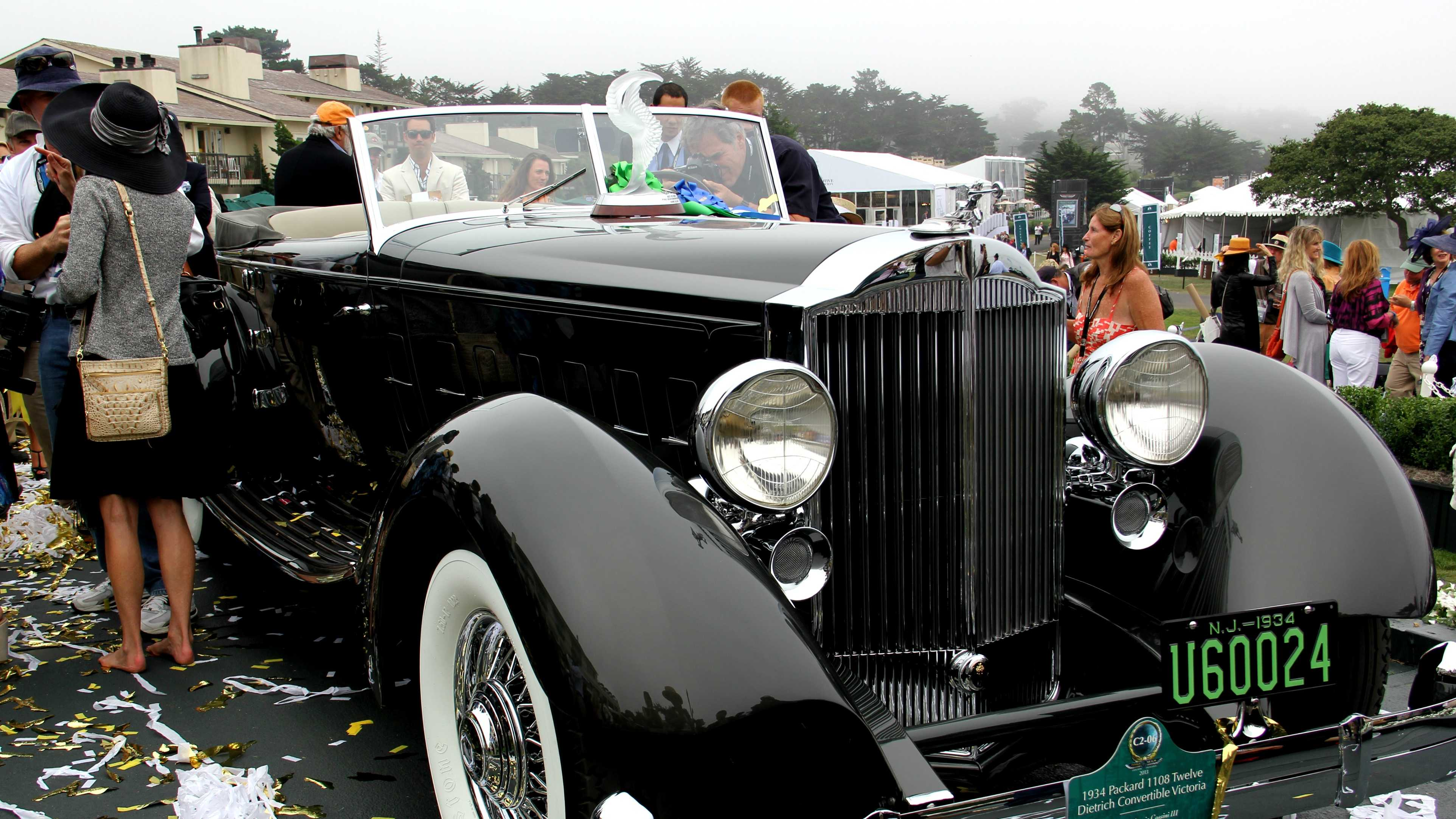 "This 1934 Packard 1108 Twelve Dietrich Convertible Victoria won ""Best Of Show"" Sunday at Pebble Beach."