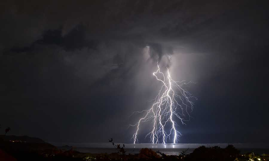 Dee Parra captured Mother Nature's light show above Pacifica and sent photographs to KSBW.
