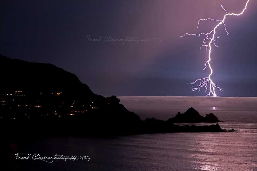 A lightningstorm electrified the sky above Pacifica, San Carlos, San Mateo Hills, and San Francisco Monday night.