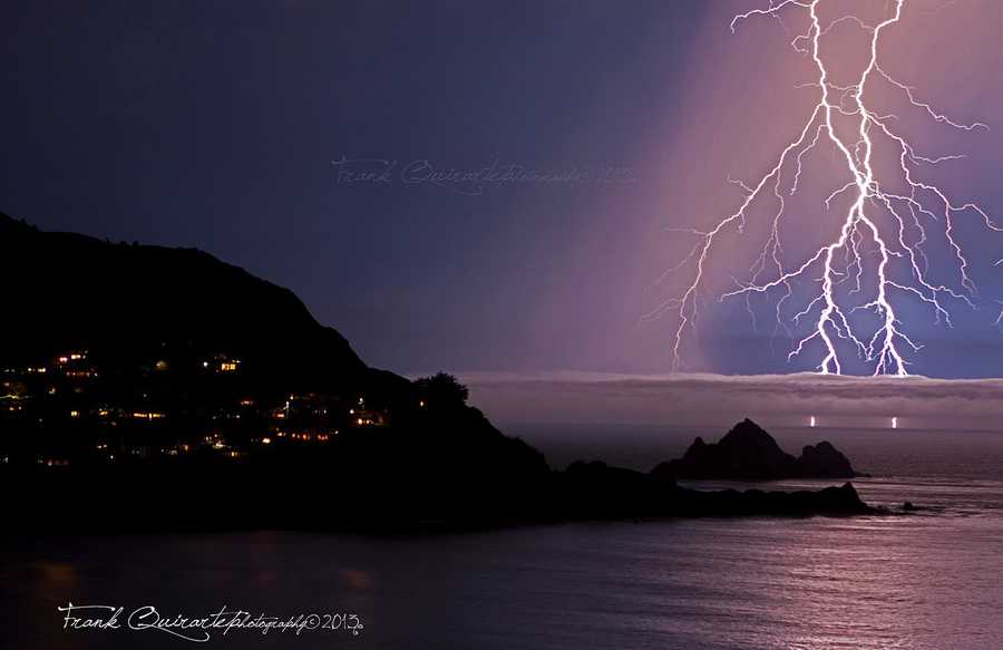 Surf photographer Frankie Quirarte captured this stunning lightning strike over the ocean off Pacifica, Calif.'s coast on Monday night.