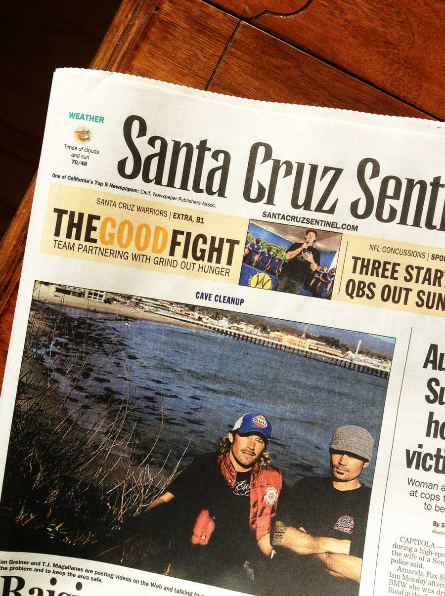 Greiner made headlines in the Santa Cruz Sentinel and was interviewed by KSBW for being the first person to expose homeless drug addicts who were shooting up and tossing syringes on Cowells Beach.