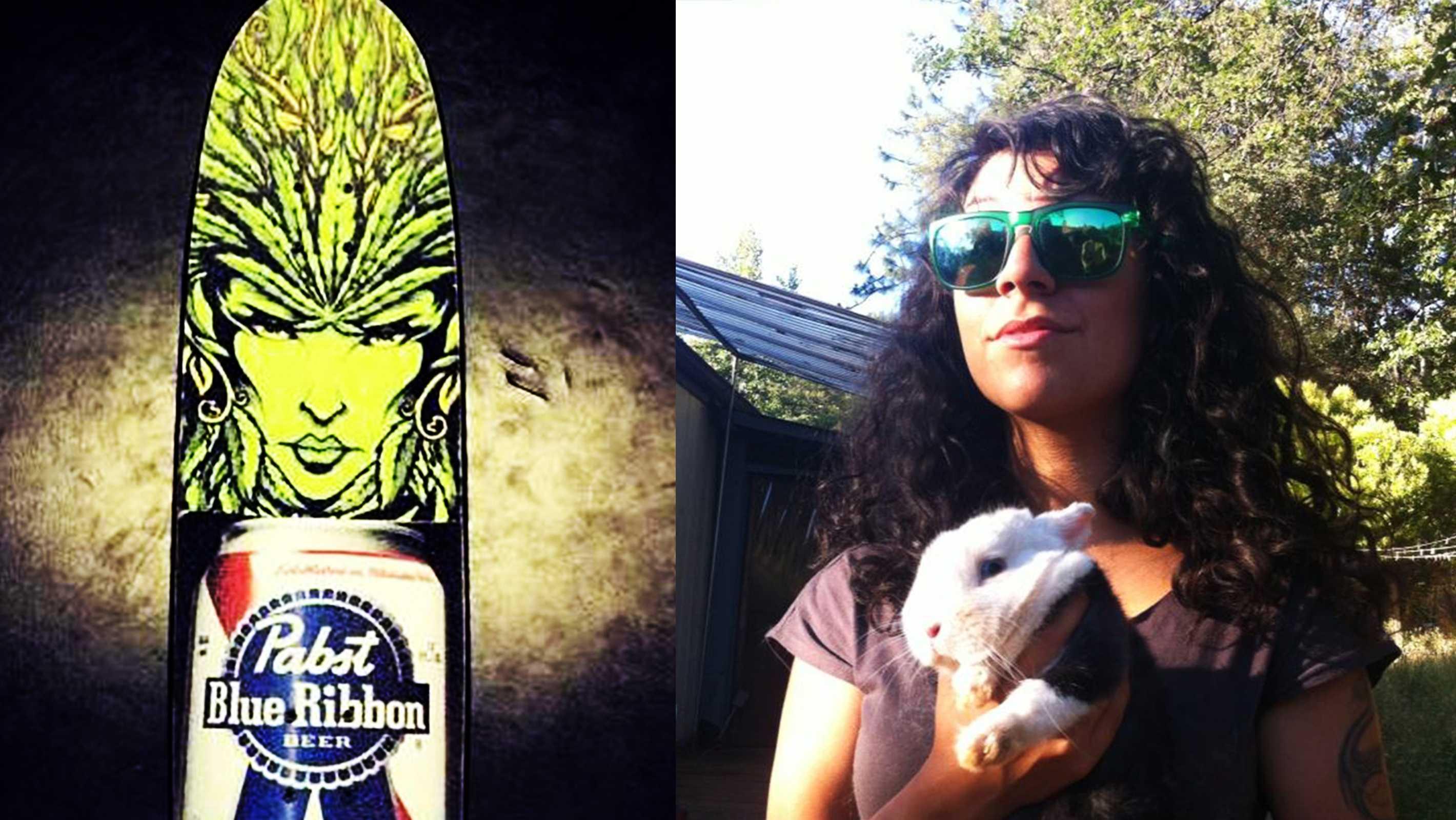 Annabelle Morlett, right, of Santa Cruz, is missing her skateboard, left.