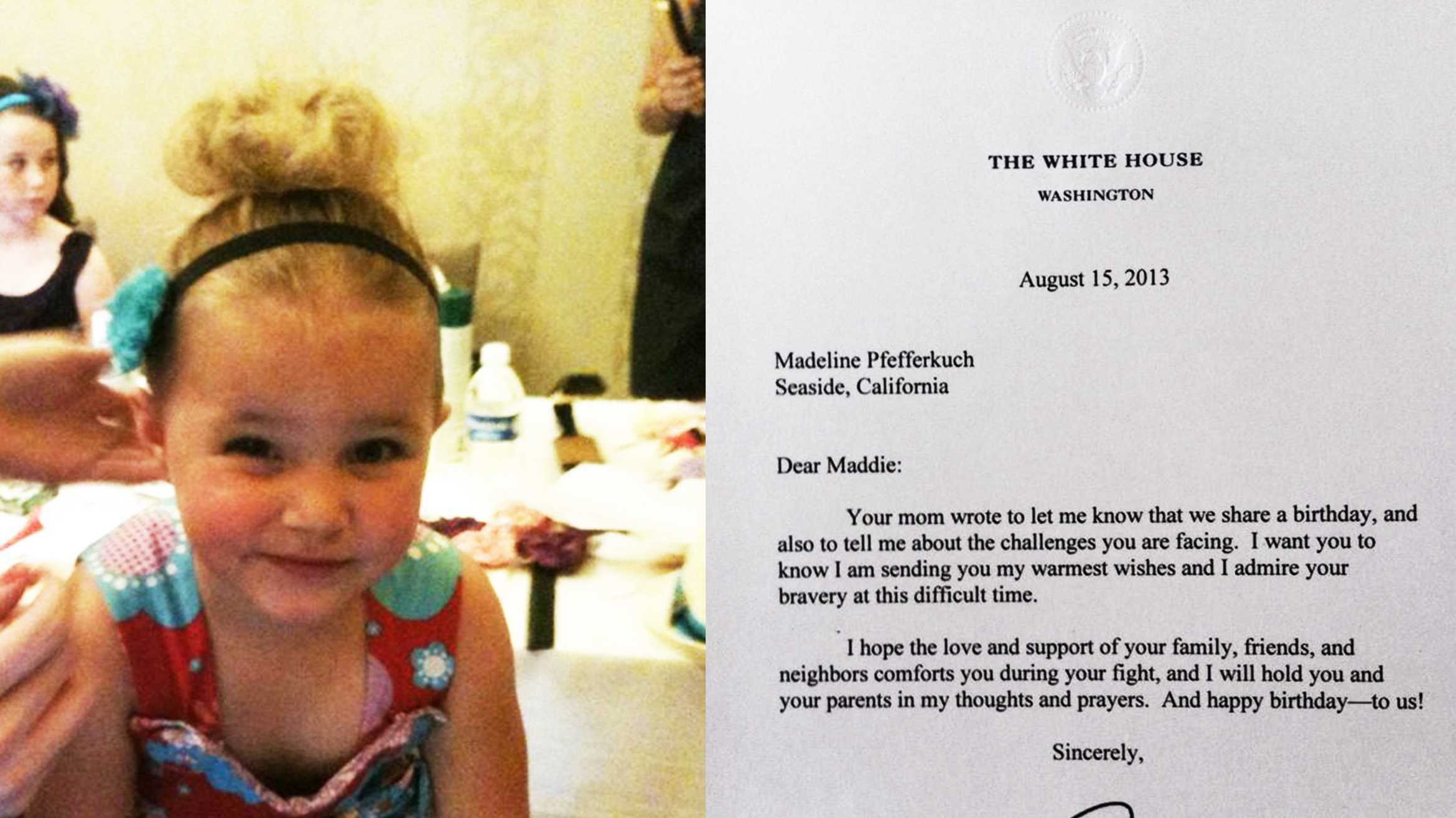Madeline Pfefferkuch, left, received this letter, right, from President Barack Obama.