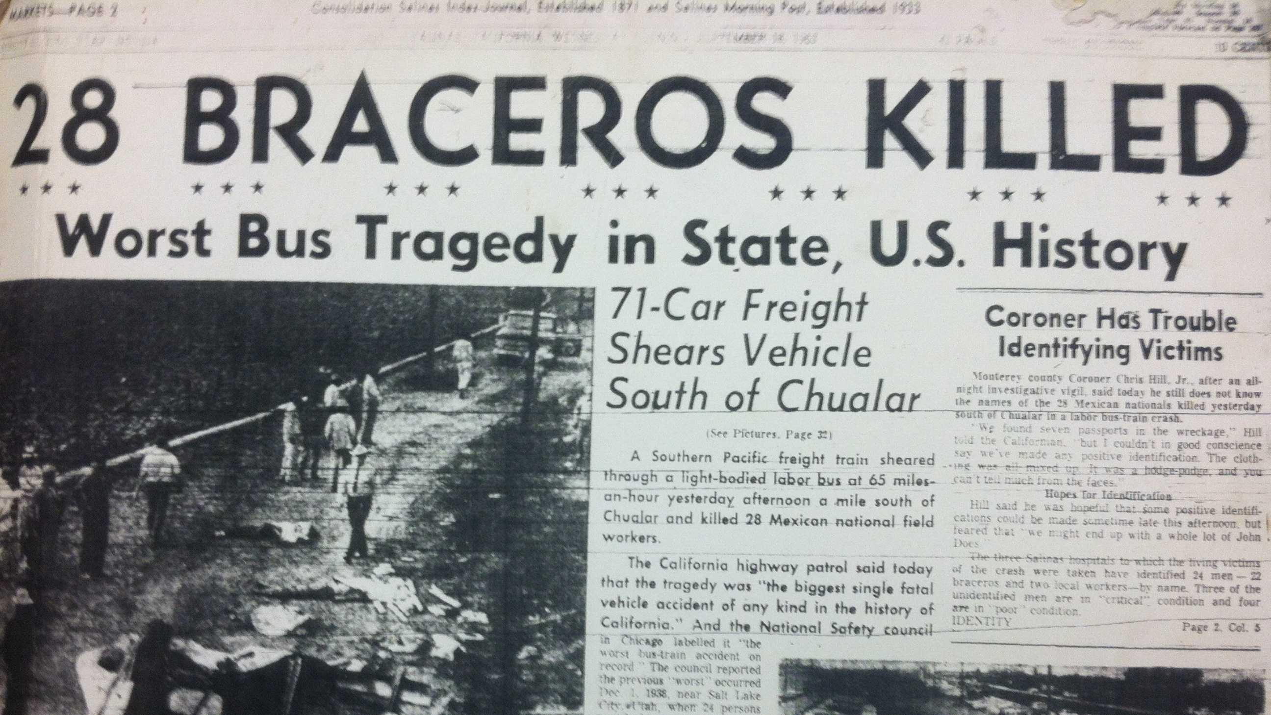 Highway 101 dedicated to Braceros 50 years after fatal crash