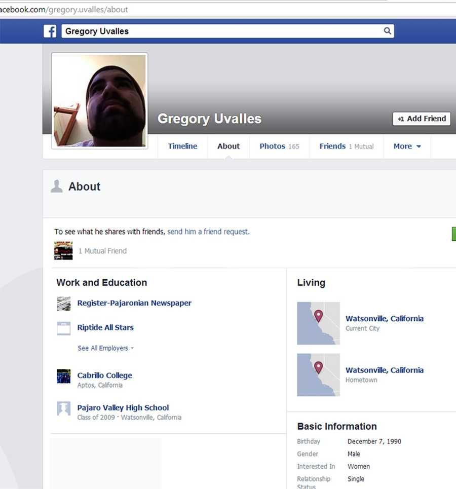 According to his Facebook page, Uvalles graduated from Pajaro Valley High School in 2009, studied at Cabrillo College, and currently works at the Register Pajaronian newspaper in the advertising department. Reporters at Watsonville's newspaper declined to comment to KSBW.