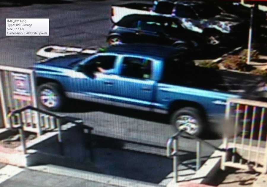 Police are still searching this blue Dodge truck and driver who dropped off a 31-year-old man suffering from stab wounds at Dominican Hospital's emergency room. The truck zoomed away after dropping him off.