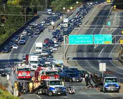 Register Pajaronian photographer Tarmo Hannula shot this photo of traffic backing up behind a crash. (Sept. 22, 2013)