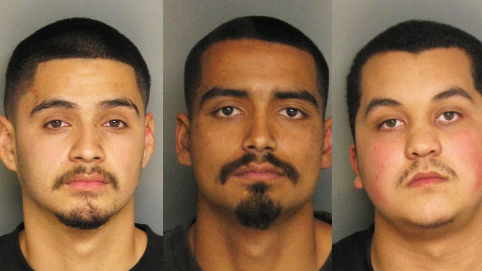 Oswaldo Ruiz, left, Jeremie Aguilera, and Joseph Garcia are seen in mug shots.