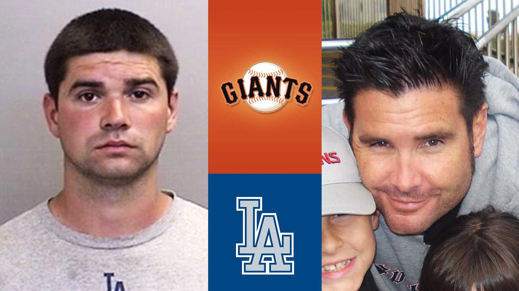 Dodgers fan Jonathan Denver, left, and Giants fan Bryan Stow, right