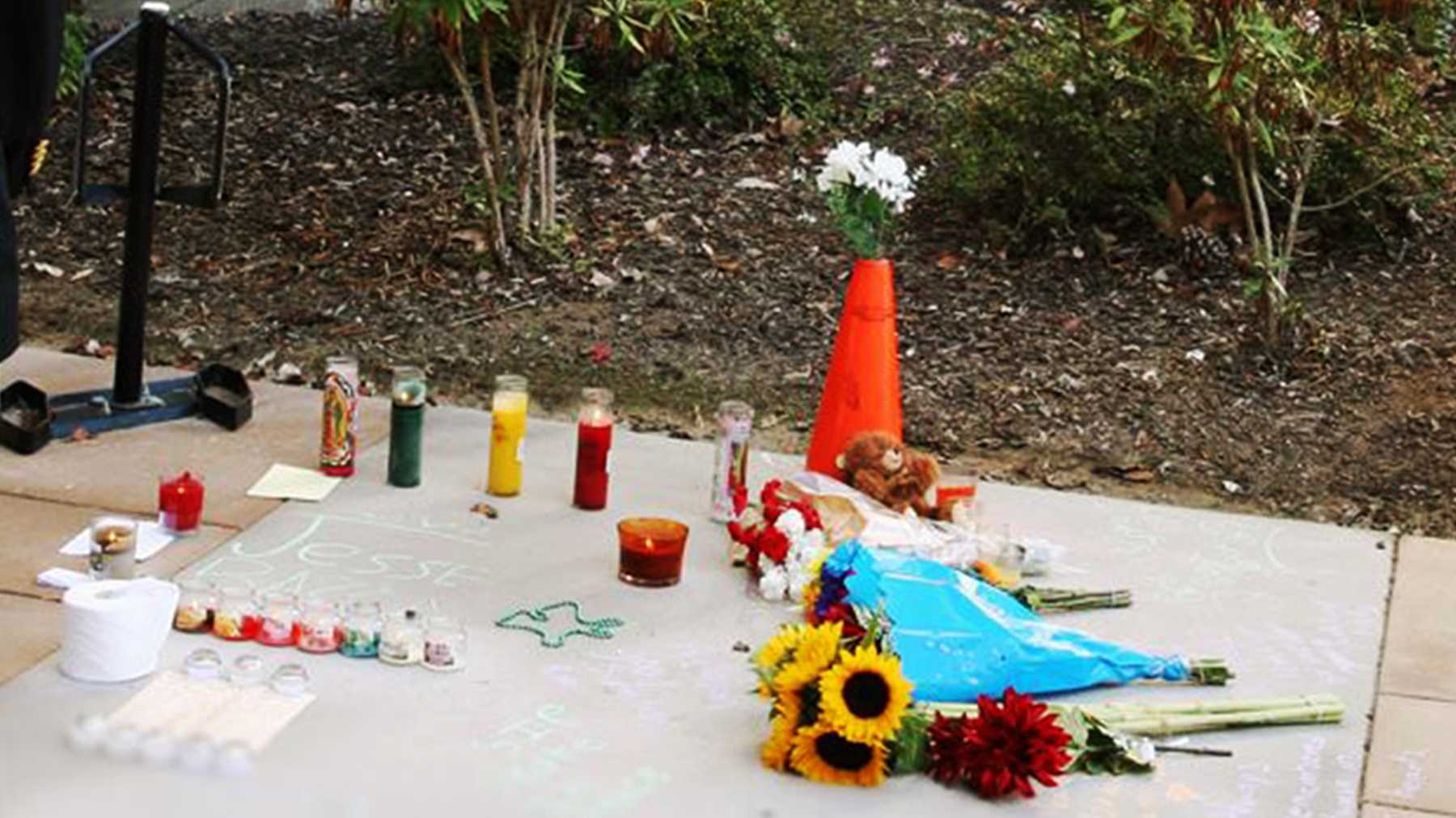 California State University Monterey Bay students made this memorial where Jesse Baza fell on campus.