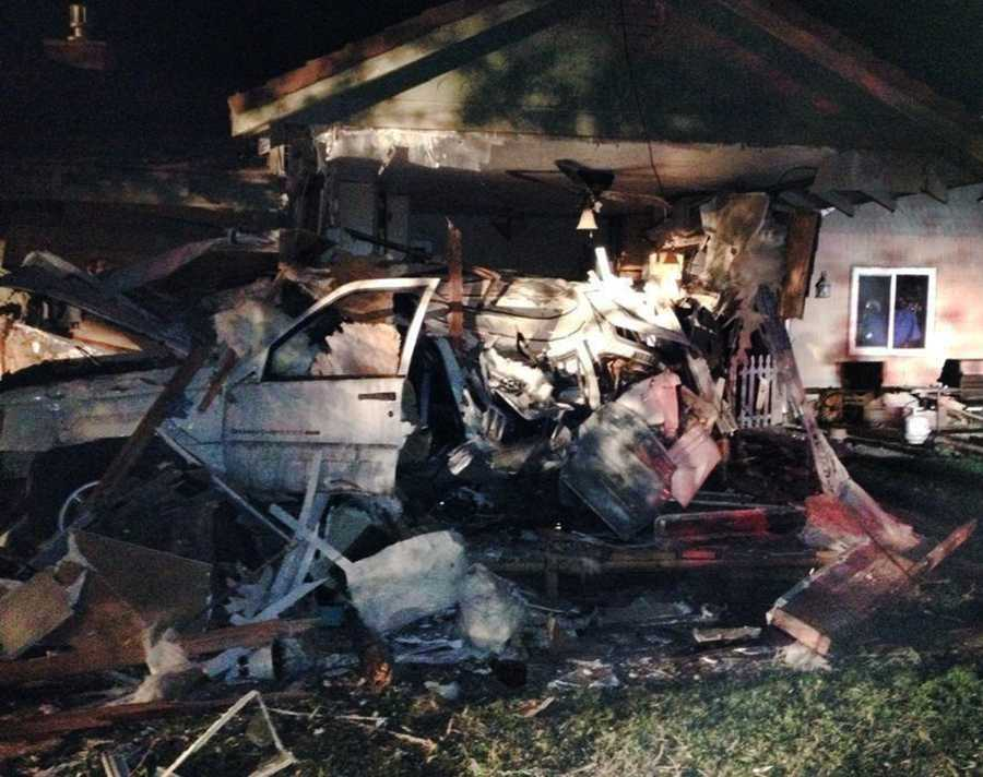 The truck drove through the house into a kitchen before it finally stopped. The driver was inside the truck suffering from major blood loss, 911 dispatchers said. He was airlifted to a San Jose trauma center to undergo surgery for serious injuries. The driver's identity was not immediately released.