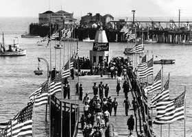 The two most recently built wharves in Santa Cruz were Pleasure Pier, which existed from 1904-1963, and the Municipal Wharf.Pleasure Pier (shown here in 1946) faced the Municipal Wharf.