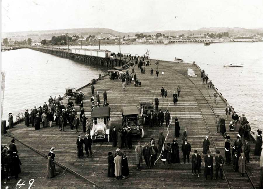 The Santa Cruz Municipal Wharf (seen here) was built in 1914 to accommodate deep water ships, and since then, it survived earthquakes, fires and storms. It was constructed with more than 4,500 wood pilings extending 20 feet into the seafloor.