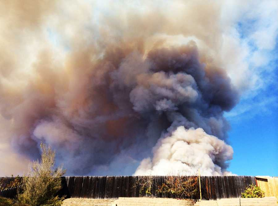Smoke from a controlled burn at the former Fort Ord Army training base was spotted by residents on all sides of the Monterey Bay Monday. This photo was shot in the Pasadera neighborhood off Highway 68 between Salinas and Monterey.