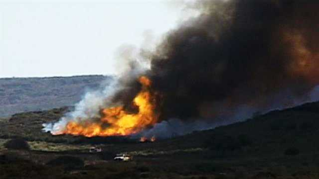 The fire is seen here at Fort Ord when Army officials first ignited it at 10:30 a.m. Monday.
