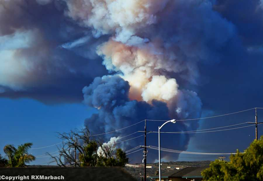 The Army's double controlled burn at the former Fort Ord military training base was spotted by residents on all sides of the Monterey Bay Monday and Tuesday. RalphXM took this amazing photo in Salinas.