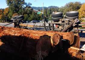 A logging truck rolled and lost its load on Graham Hill Road in Santa Cruz on Oct. 22, 2013.