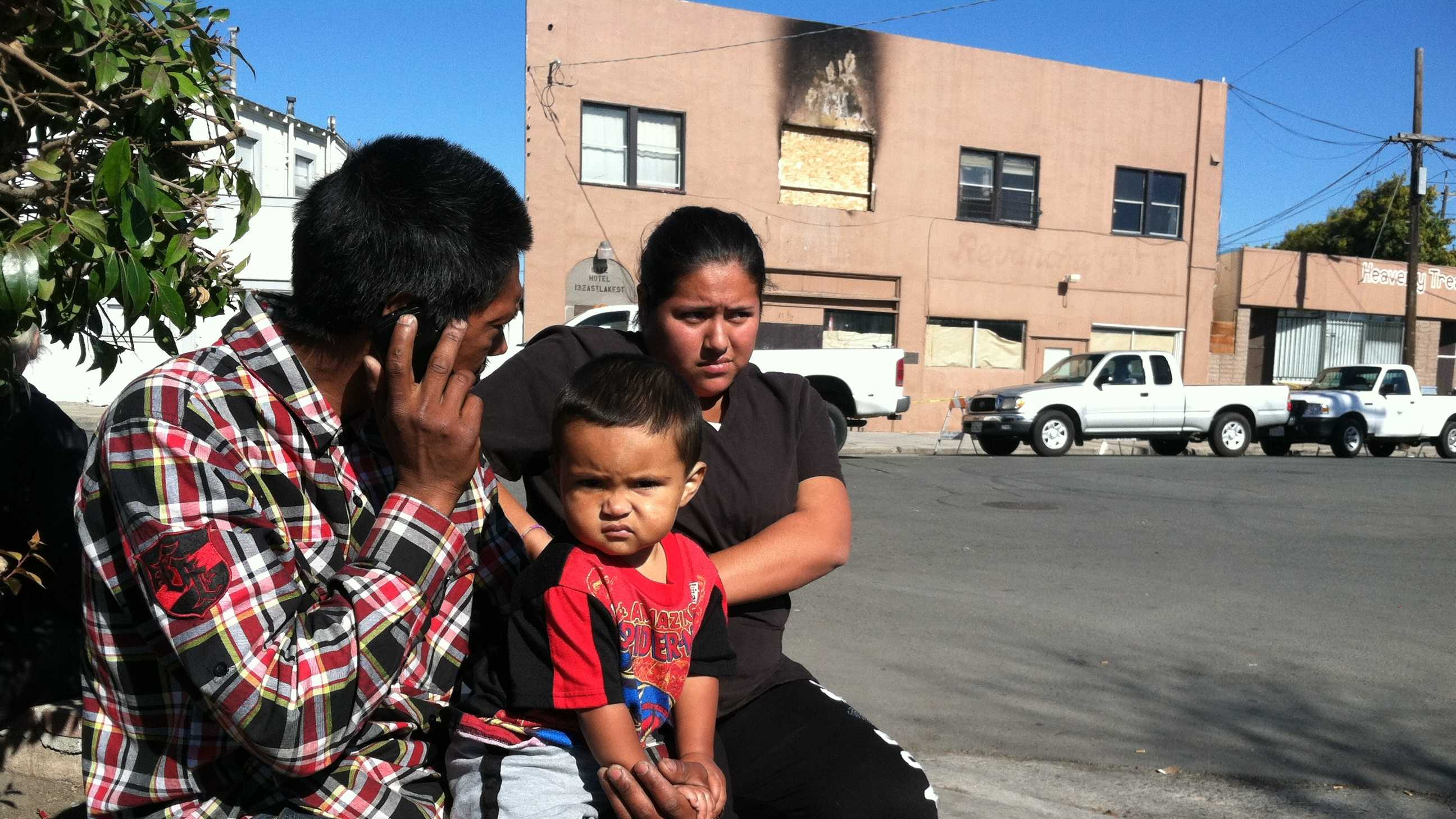 Angel Ochoa, his fiancee Jessica Cardenas and their son, Angel Ochoa Jr., were displaced after a weekend fire at the Lake Hotel in Salinas.