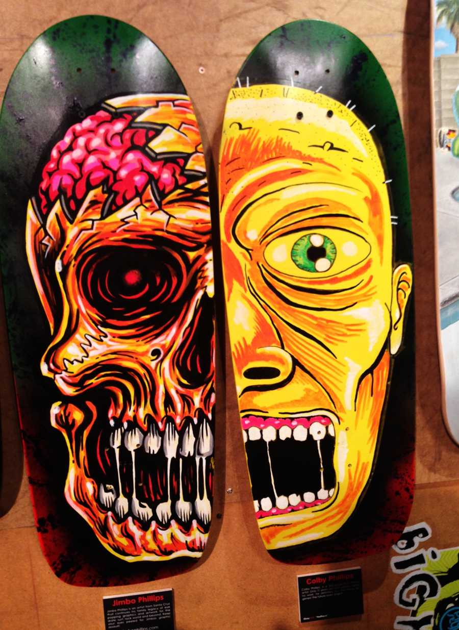 World famous skate artist Jimbo Phillips designed the skateboard on the left and his son Colby designed the board on the right.