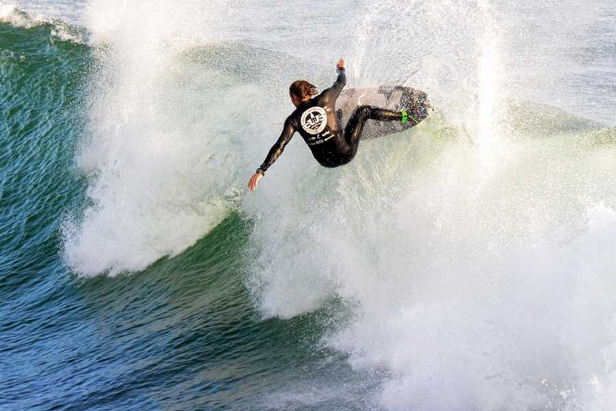 Meister, 25, of Hawaii, is seen surfing in the finals of the 2013 O'Neill Coldwater Classic at Steamer Lane.
