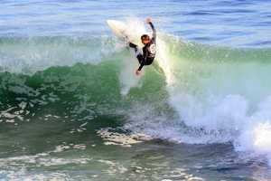 Torrey Meister is seen surfing in the finals of the 2013 O'Neill Coldwater Classic at Steamer Lane. (Nov. 6, 2013)