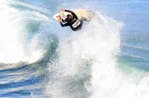"""Darryl """"Flea"""" Virostko of Santa Cruz was not in the Coldwater lineup, but had fun during an expression session . The three-time big wave Mavericks Invitational champion worked as Water Patrol during Wednesday's heats to keep non-competitors out of The Lane."""
