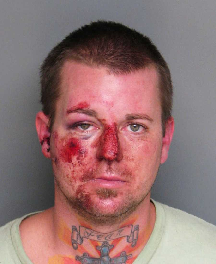 "A Salinas man suffered major facial injuries after he crashed into parked cars while fleeing from police Nov. 8. Adam Venuti, 34, wielded a large knife as he robbed a CVS pharmacy store at 1140 Sotuh Main Street at 9 p.m., police Cmdr. Vincent Maiorana said. Officers spotted Venuti speeding away from the store down West San Joaquin Street.""Venuti drove for a short distance colliding with a nearby parked vehicle. After Venuiti's vehicle stalled, Venuti then fled on foot and was captured by officers in the area,"" Maiorana said."