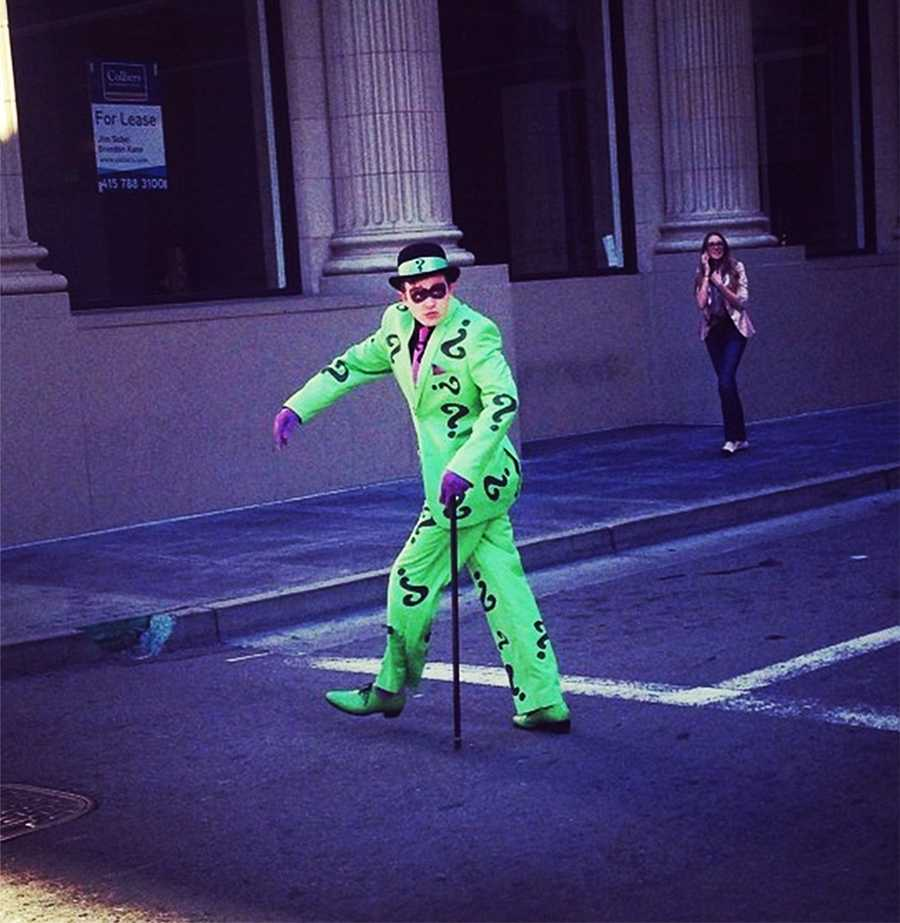 While Batkid was fighting crime on the mean streets of SF, the Riddler robbed a bank.