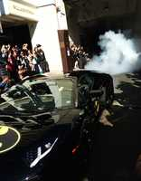 Batkid took off from Union Square in one of two Batmobiles - black Lamborghinis with Batman decals.