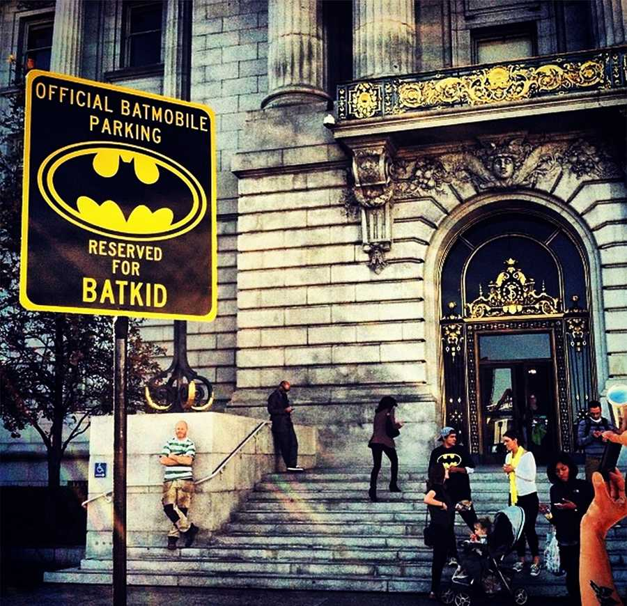 Batkid had a special parking spot outside SF City Hall.