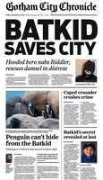 "The SF Chronicle printed special-edition newspapers with the headline, ""Batkid Saves City,"" for Batkid."
