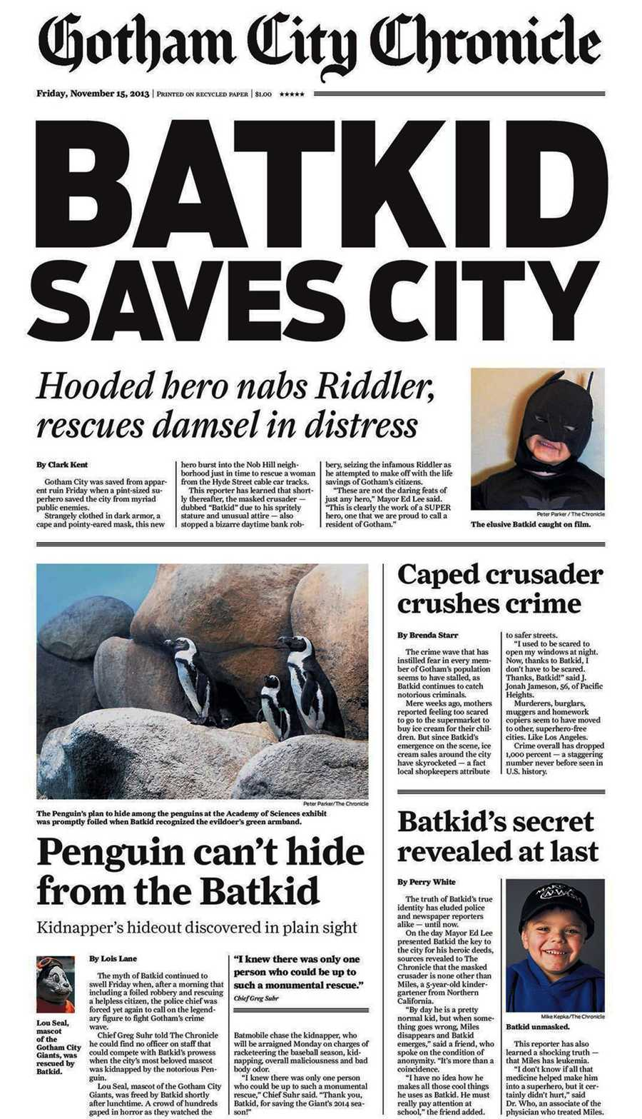 """The SF Chronicle printed special-edition newspapers with the headline, """"Batkid Saves City,"""" for Batkid."""