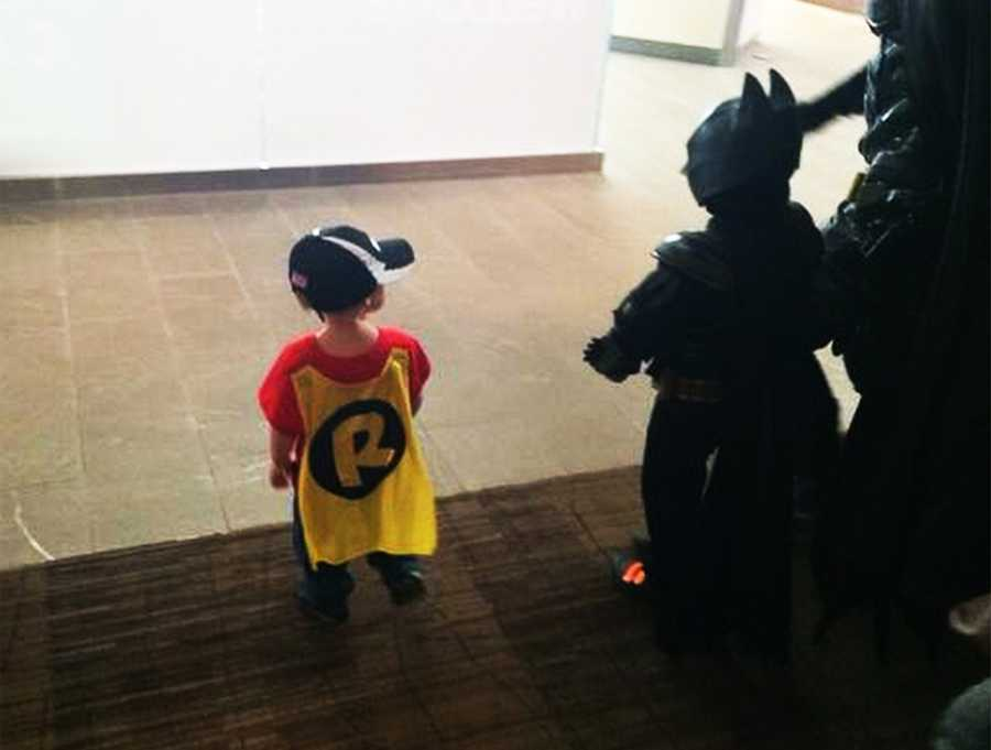 Miles' little brother dressed up as Robin.