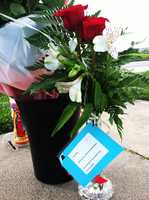 On Thursday morning, red roses, white irises, letters, and balloons were left where Linda Rascon died.