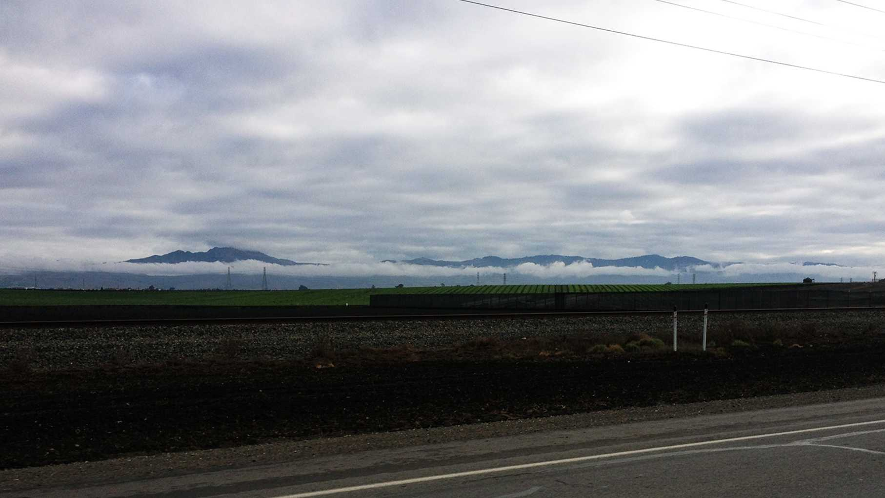 Rain clouds move past the Salinas Valley. (Nov. 21, 2013)