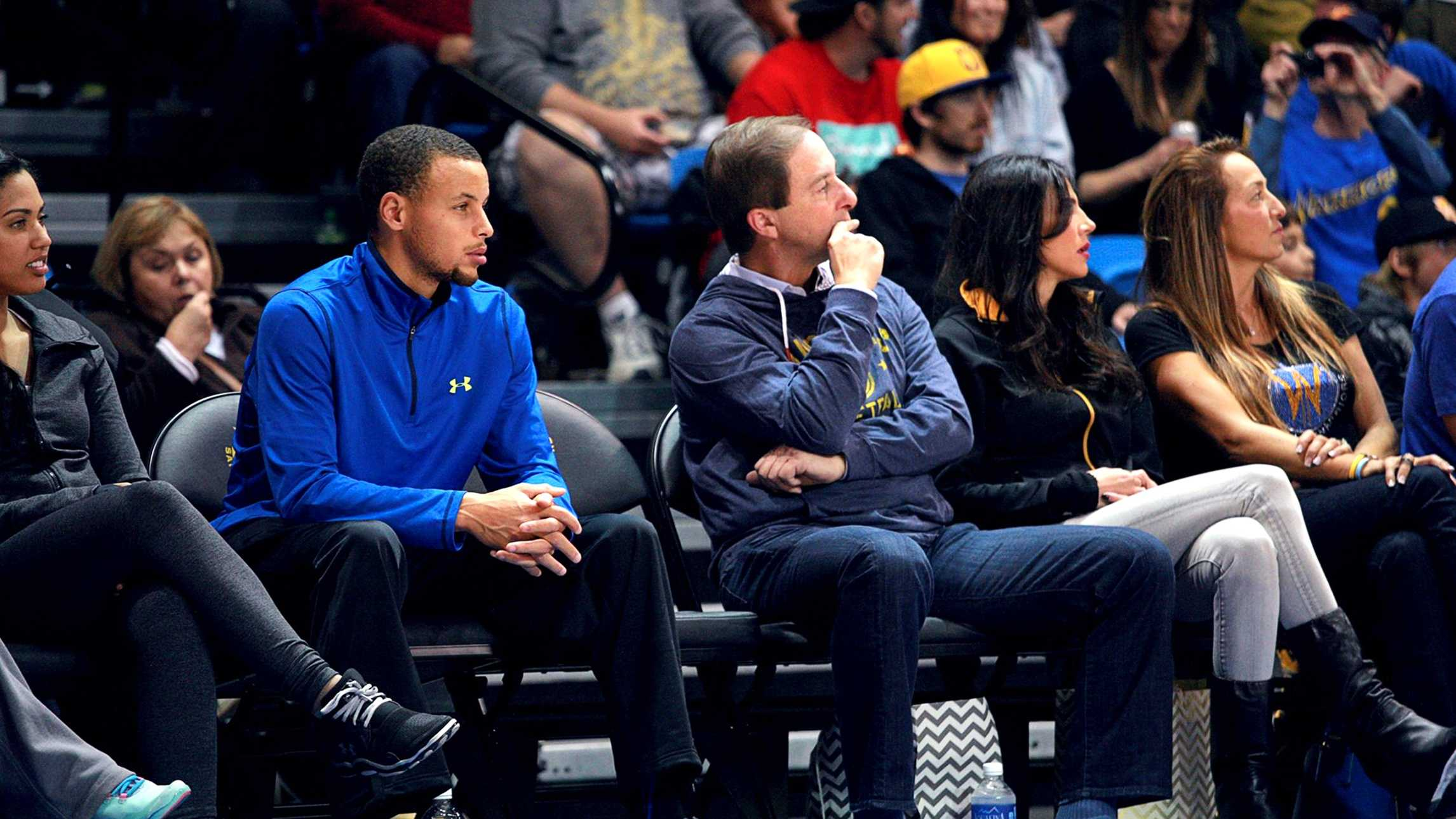 Stephen Curry cheered on his brother at the Santa Cruz Warriors' game. (Nov. 25, 2013) / Tim Cattera/ Santa Cruz Warriors