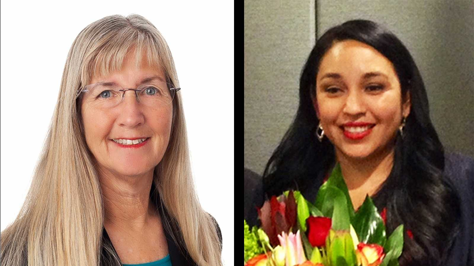 Lynn Robinson, left, will be Santa Cruz's next mayor, and Karina Cervantez, right, will be mayor of Watsonville.