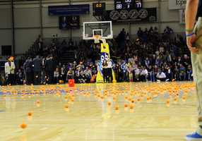 During time-outs, kids are often invited to play games on the court in front of the big crowd.