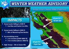 On Friday night, snow is forecast to fall on the mountains in Santa Cruz, Monterey and San Benito County at elevations above 2,000 feet.