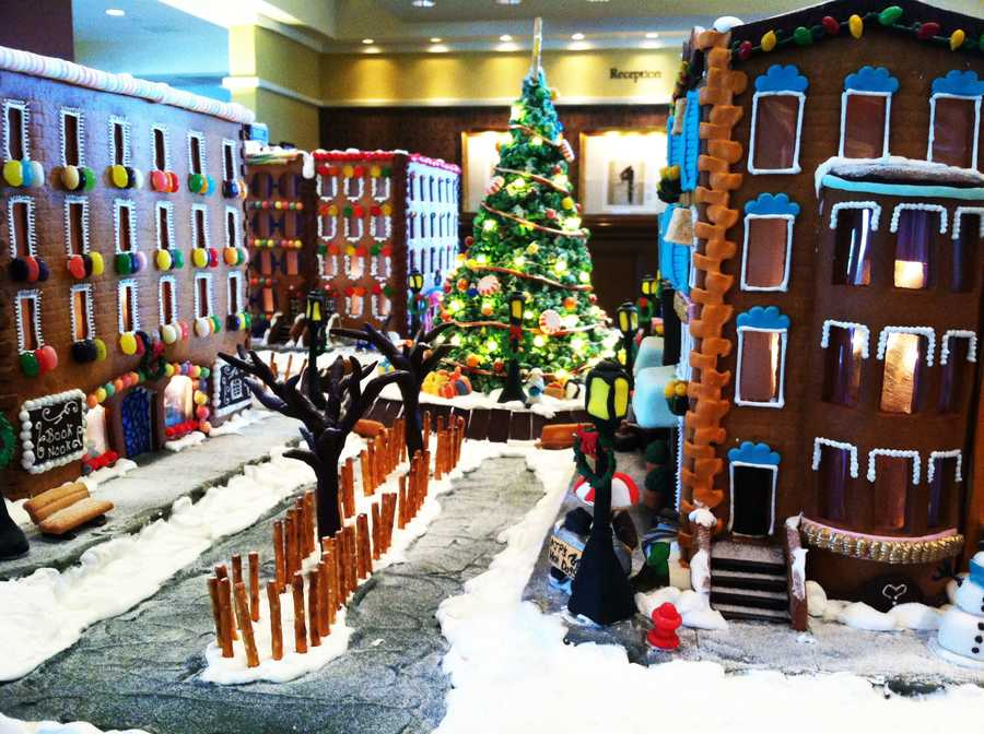 Making over-the-top gingerbread houses is a holiday tradition at Spanish Bay Inn.