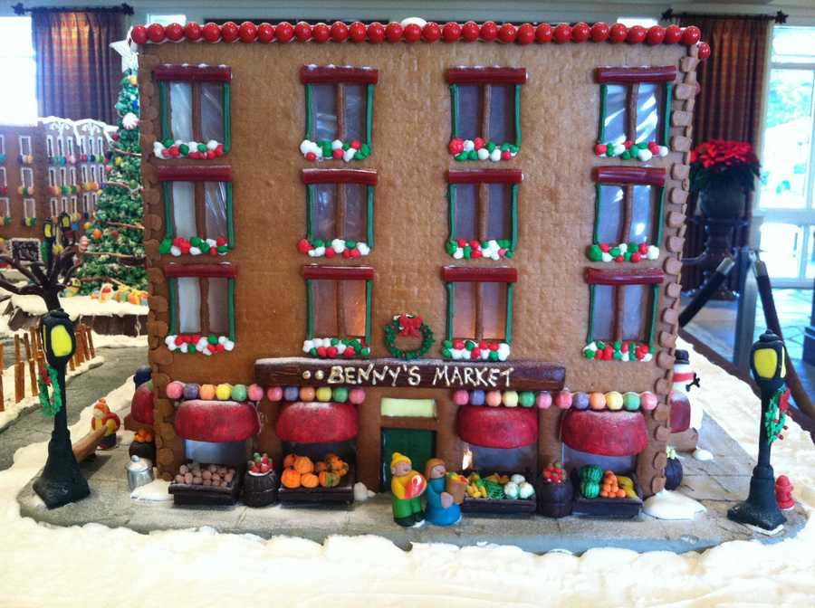 Their kitchen at Spanish Bay is down a flight of stars and at the end of a long hallway. They were able to build the entire gingerbread city without once making a mess.